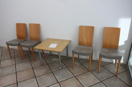 Kvadratisk bord, Scandi Form + 4 stole, Miss Trip by Starck