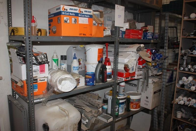 2 span steel rack containing supplies, nails, drywall screws