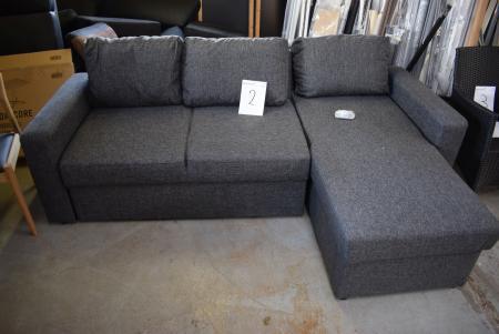 Sofa m. Chaise Lounge, dunkelgrau Stoff. Einige Montage erforderlich, Hardware enthalten
