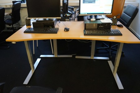 El raise lower table with 2 office chairs. 160x80 cm tested ok