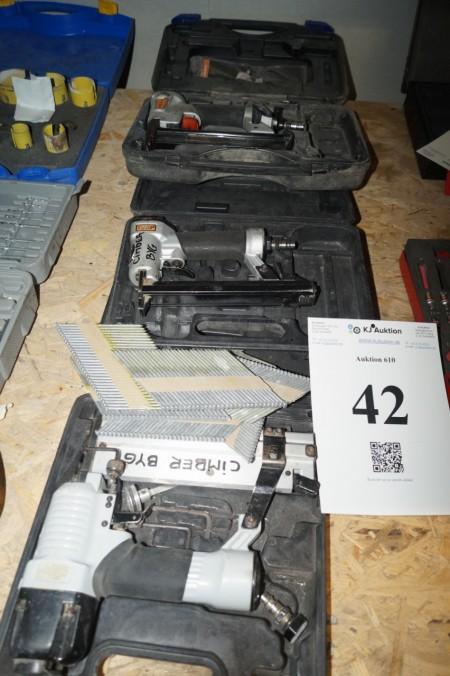 3 stk klammepistoler,