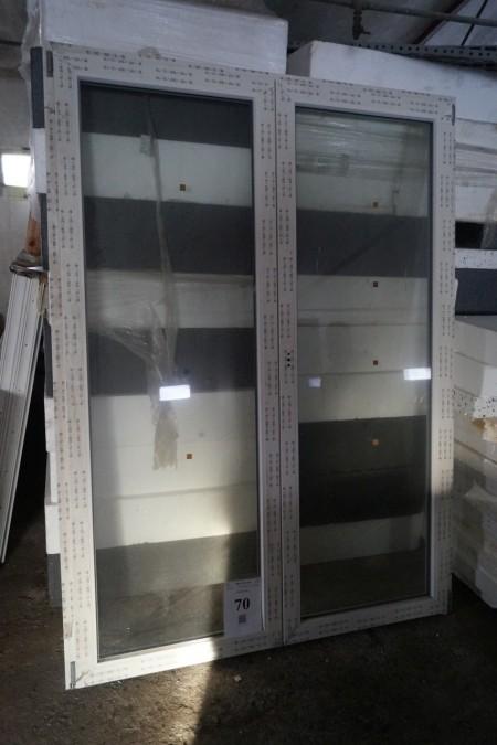 Dobbelt terassedør 160x220 cm ubrugt + vindue 98x135 cm ubrugt