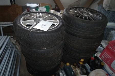 8 stk dæk med alu fælge