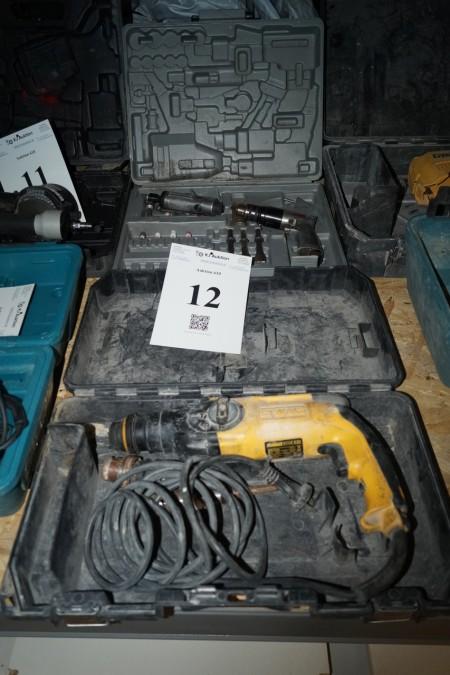 Dewalt slagboremaskine + 2 stk luftværktøj og diverse bor. Afprøvet og OK