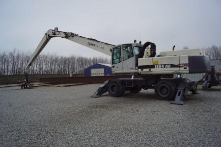 TEREX ATLAS, 1804 MI, AWE4 System,  gummihjuls maskine lang arm, årgang 2006 total vægt:33500 kg Timer 11500. sælges uden grab.