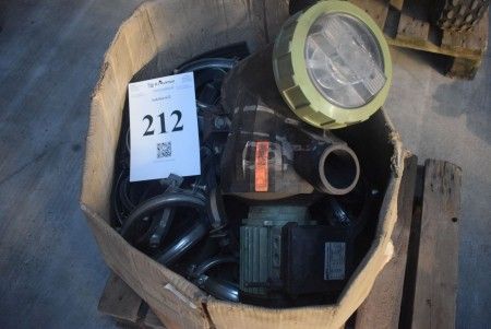 Pump 230 volt + box with pipe holder