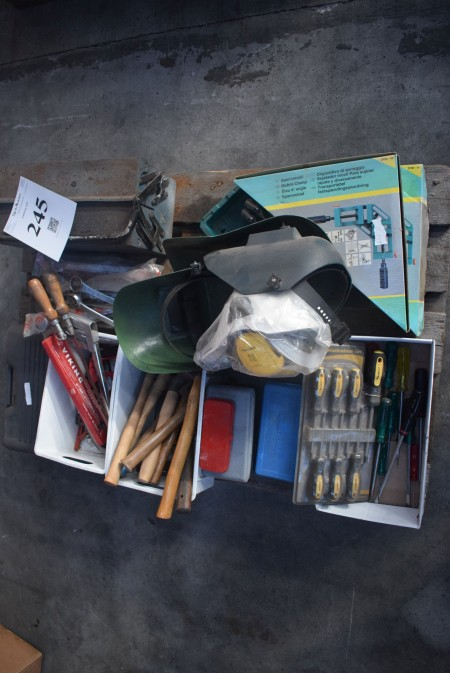 Various hand tools and welding masks