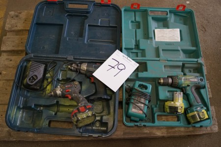 2 stk AKKU skruemaskiner + en AKKU slagnøgle, ikke afprøvet