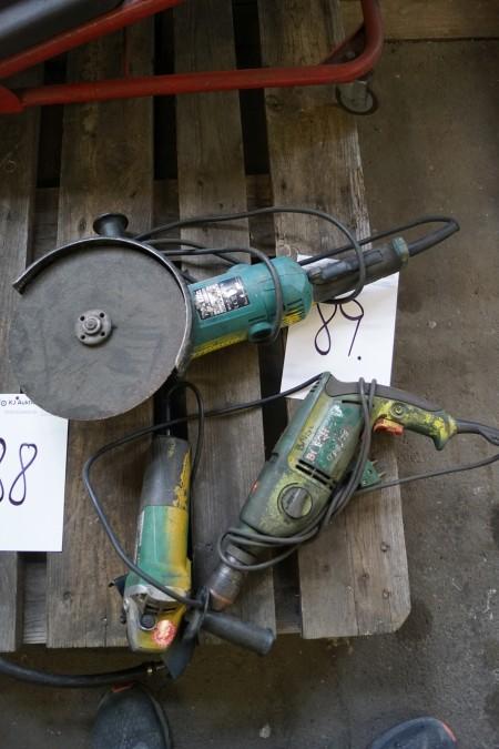 Large MAKITA angle grinder + 1 HIHACHI angle grinder + EL drill, not tested