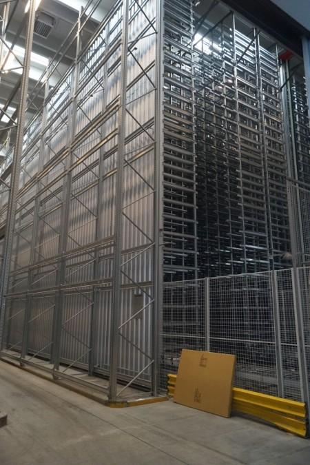 Komplet Lagersystem med afhentnings kraner fra 39000 lagerposter med udløb og tilbageløb igennem bygningen.