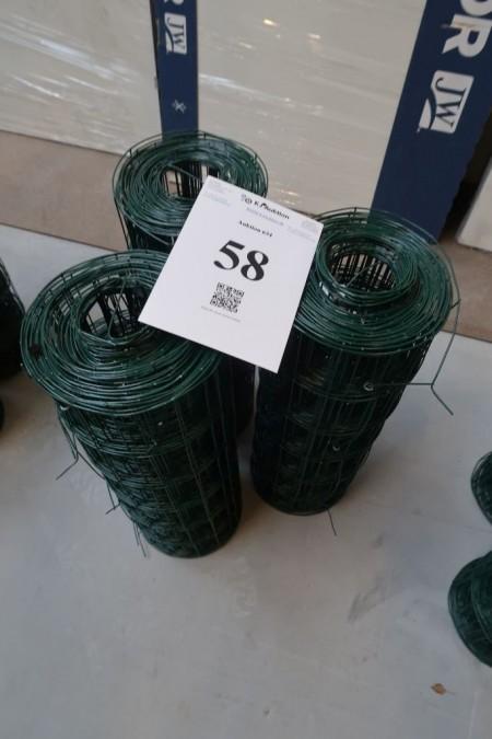 3 ruller grøn trådhegn, 0,6x20 meter pr rulle,