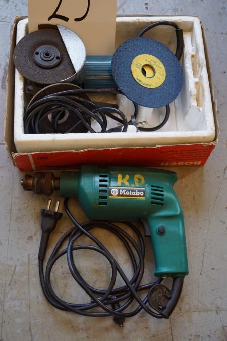 1 stk. Metabo EL boremaskine + 1 stk. Bosch EL vinkelsliber
