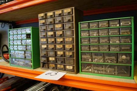 3 stk sortiment kasser med indhold
