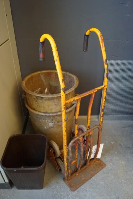 Trappesækkevogn + 2 stk skraldespande