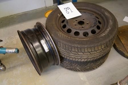 2 stk fælge med dæk 205/55/R16 + 1 stk fælg