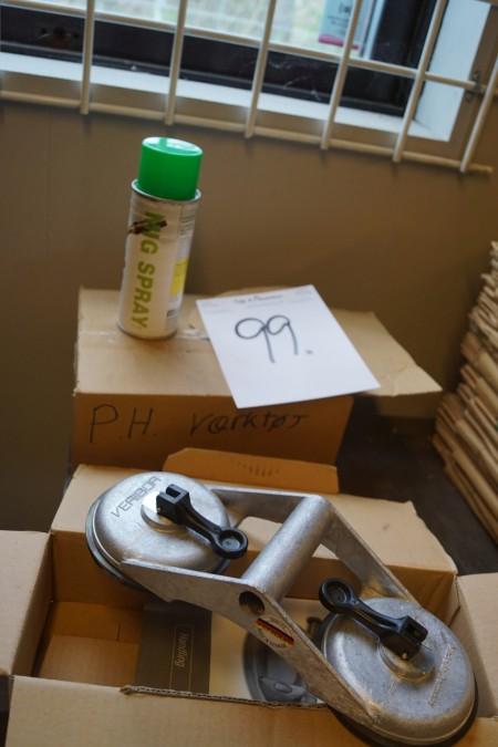 2 stk sugekopper, ubrugte + 12 stk MIG spray