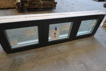 Træ/alu vindue, Antracit/hvid, H50xB165,3 cm, karmbredde 14,8 cm, med fast ramme, 3-lags glas