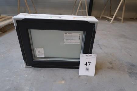 Træ/alu vindue, Antracit/hvid, H50xB64,4 cm, karmbredde 14,8 cm, med fast ramme, 3-lags mat glas. Modelfoto