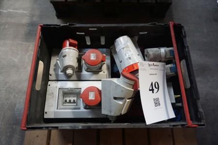Parti stærkstrømstik 16-32 A + 2 stk. 32 A stik med sikringsboks