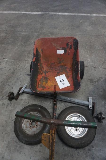 Trækvogn + aksel for trailer. Bredde på aksel: 100 cm.