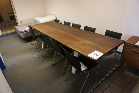 Langbord. Hvidt stel. 300x95x75 cm. + 10 stole.