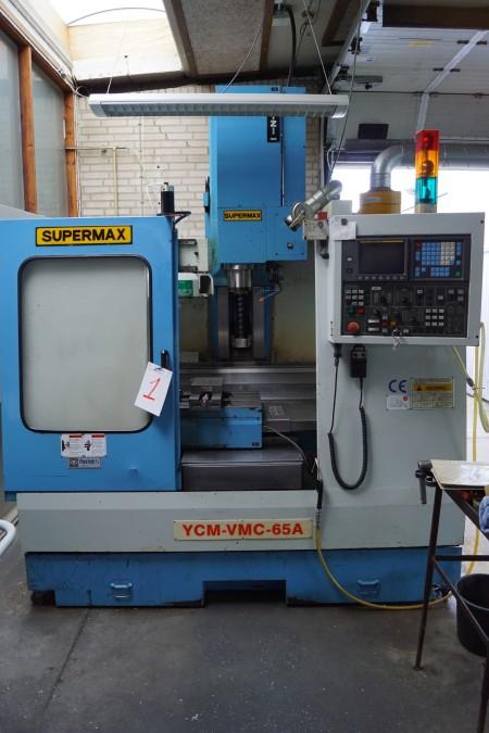 CNC MASKINE mærke: SUPERMAX årgang: 1996 type: YCM-VMC-65A styring: FANUC Series O-M, har lige fået service, manualer medfølger