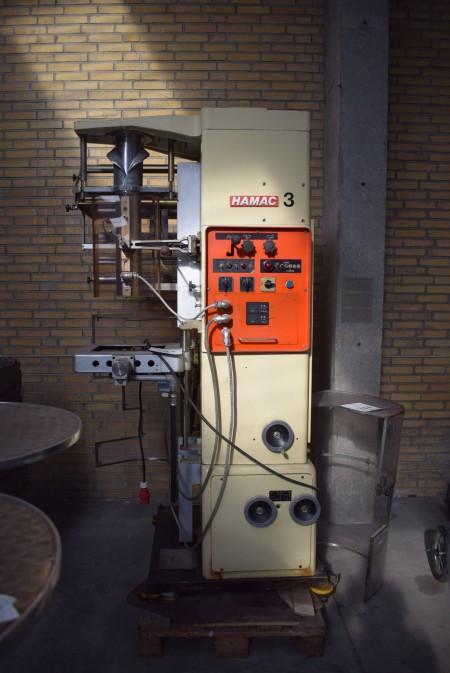 Hamac.Bosch 175 Hydraulic Vertikal posepakkemaskine for 425 mm bred folie (OPP eller laminater til varmesvejs). I øvrigt med Elmoprint M30 trykværk til datomærkning etc. Kap. Op til 70 pk. / minut
