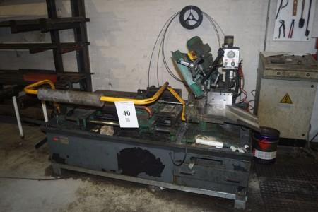 Bånds savs automat mærke Pedrazzoli model Seghetto A Nastro Type Brown SN 270/S-AP/CN med tilspænding + Båndssavs klinger på Væg.