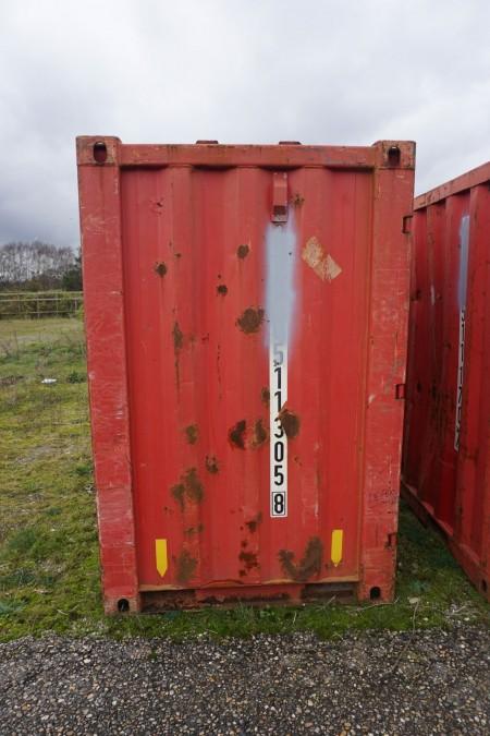 Container,b:225cm h:215cm d:142cm, totalvægt 3750 kg, lastevne 3000kg, egenvægt 75kg.