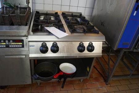 Gaskomfur mærke HNK Storkøkken med 4 blus 95x80x85 cm