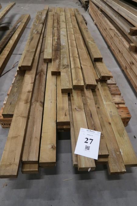 96 meter tømmer trykimprægneret, 50x100 mm, længde: 1/240, 3/270, 4/300, 2/360, 3/420, 12/450 cm