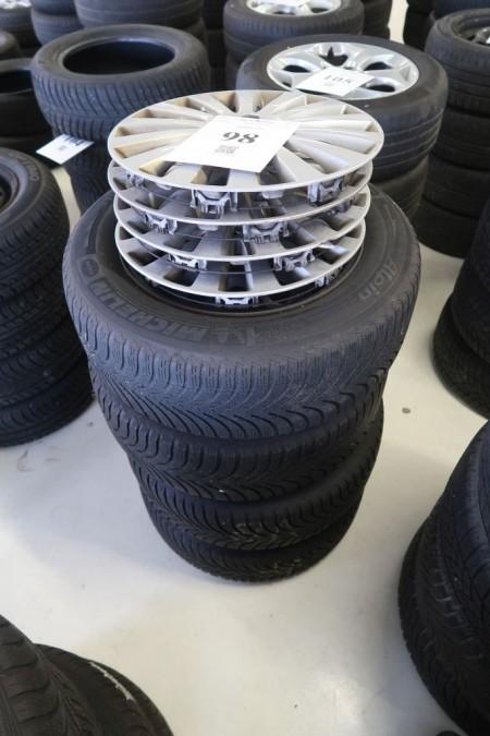 4 stk. stålfælge med dæk, 215/60R16, til Peugeot 508, hulmål 5x108 mm