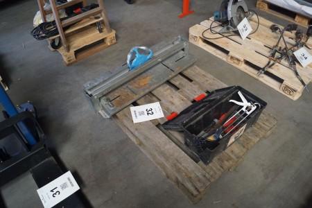 Dimos fliseskærer + værktøjskasse med indhold