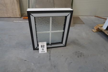 Vindue, plast,  antracit/hvid, B68,5xH78,5 cm, karmbredde 11,5 cm. Med mat glas