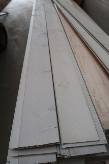 270 meters cladding boards, white painted, thickness 15 mm, cover width 11 cm, length 450 cm, with end groove
