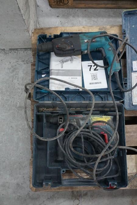 2 stk slagboremaskiner, mærke: Bosch & Makita