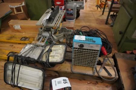 3 stk. arbejdslamper + diverse kabler mv.