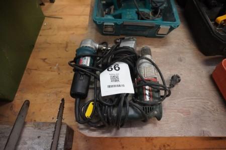 3 stk. boremaskiner, Mærke: Makita & Metabo