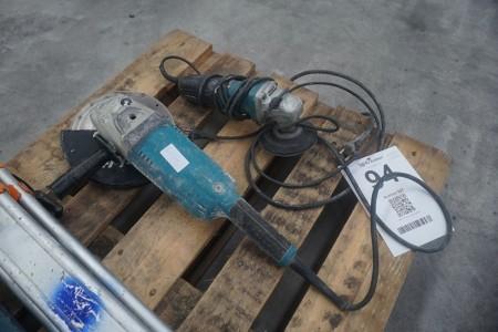 2 stk. vinkelslibere, mærke: Makita, model: GA9020R + GA 5040 C