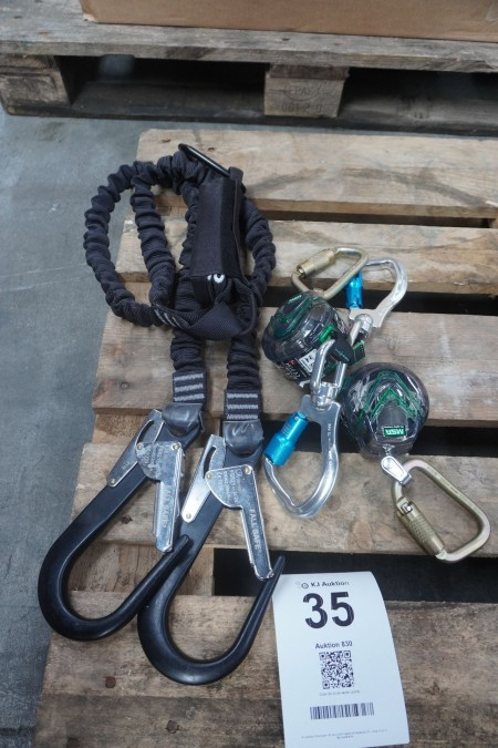 1 piece. double fall protection with elastic, brand: FS + 2 pcs. fall protection blocks, brand: MSA