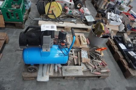 Kompressor + spartelværktøjer + måleværktøj mv.