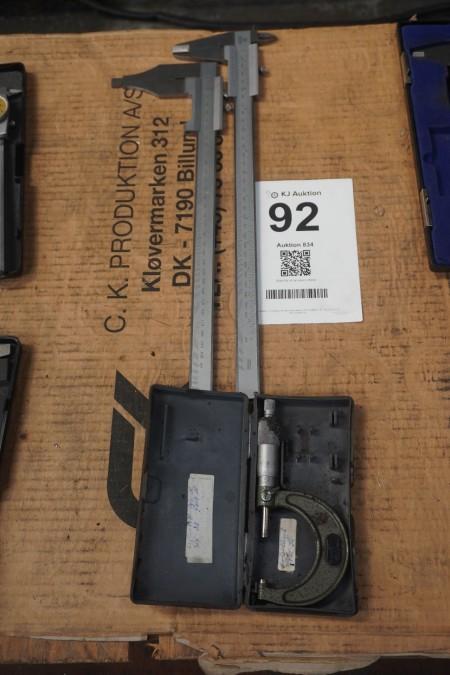2 pcs. caliper + micrometer, Brand: Mitutoyo & Holex