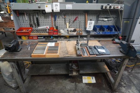 File bench with vise, tool setter and workshop board.
