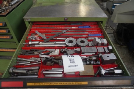 Contents in 4 drawers of various tools for stitching machine, drill, spacers etc.