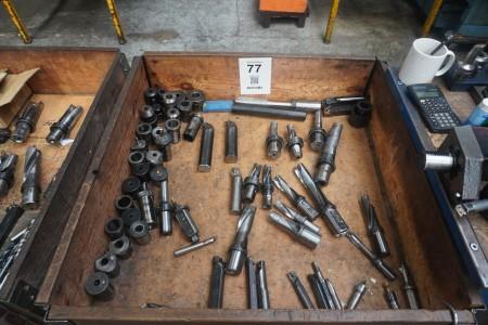 Lot of plate holders, tool holders, etc.
