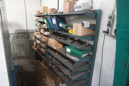 Content in 2 sections of steel shelving of various clamping tools etc.