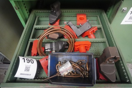 Contents on 3 shelves of various rotating tools, tool holders, plate holders and drills.
