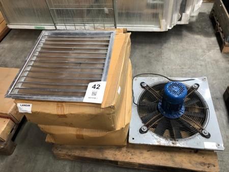 Parti ventilator indfatninger inklusiv + 1 stk. blæser
