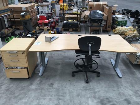 Tisch zum Heben / Senken mit Bürostuhl + Schrank auf Rollen