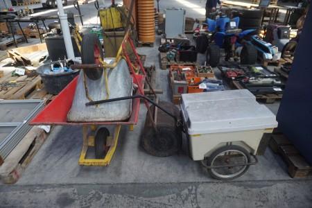 2 stk. trillebøre, cykeltrailer & havetrumle